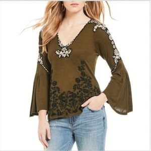 $68 Peasant Top Embroidered Bell Sleeve BOHO Olive